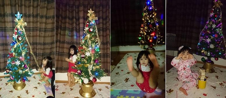 クリスマスツリーの飾りつけ中