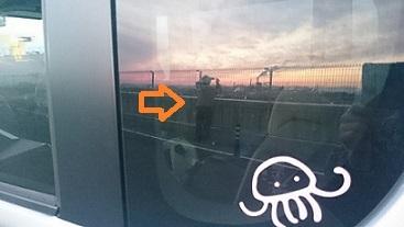 車窓に写るねこばす氏