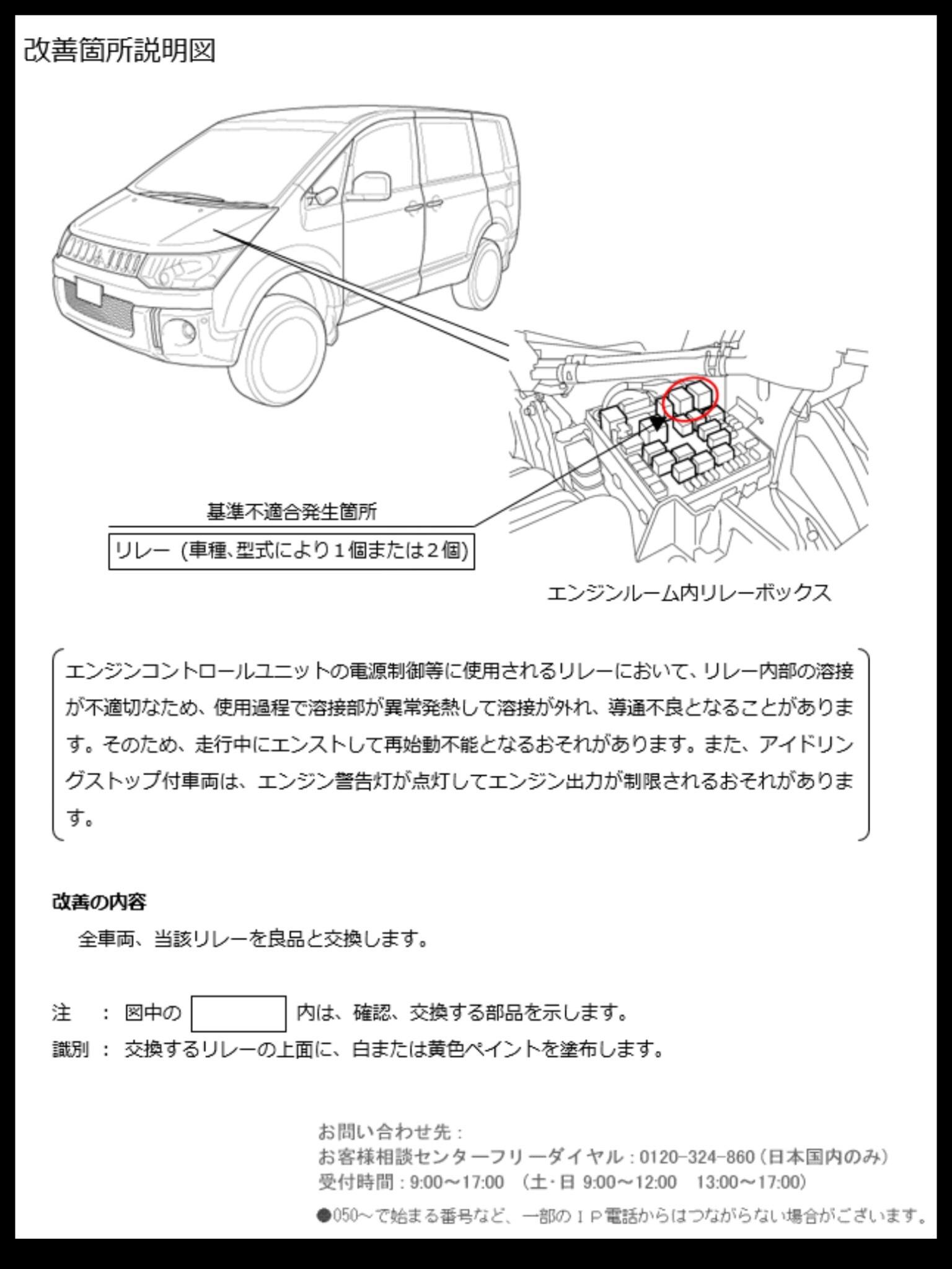 アウトランダーPHEV エンジンコントロールユニット リレー不備でリコール