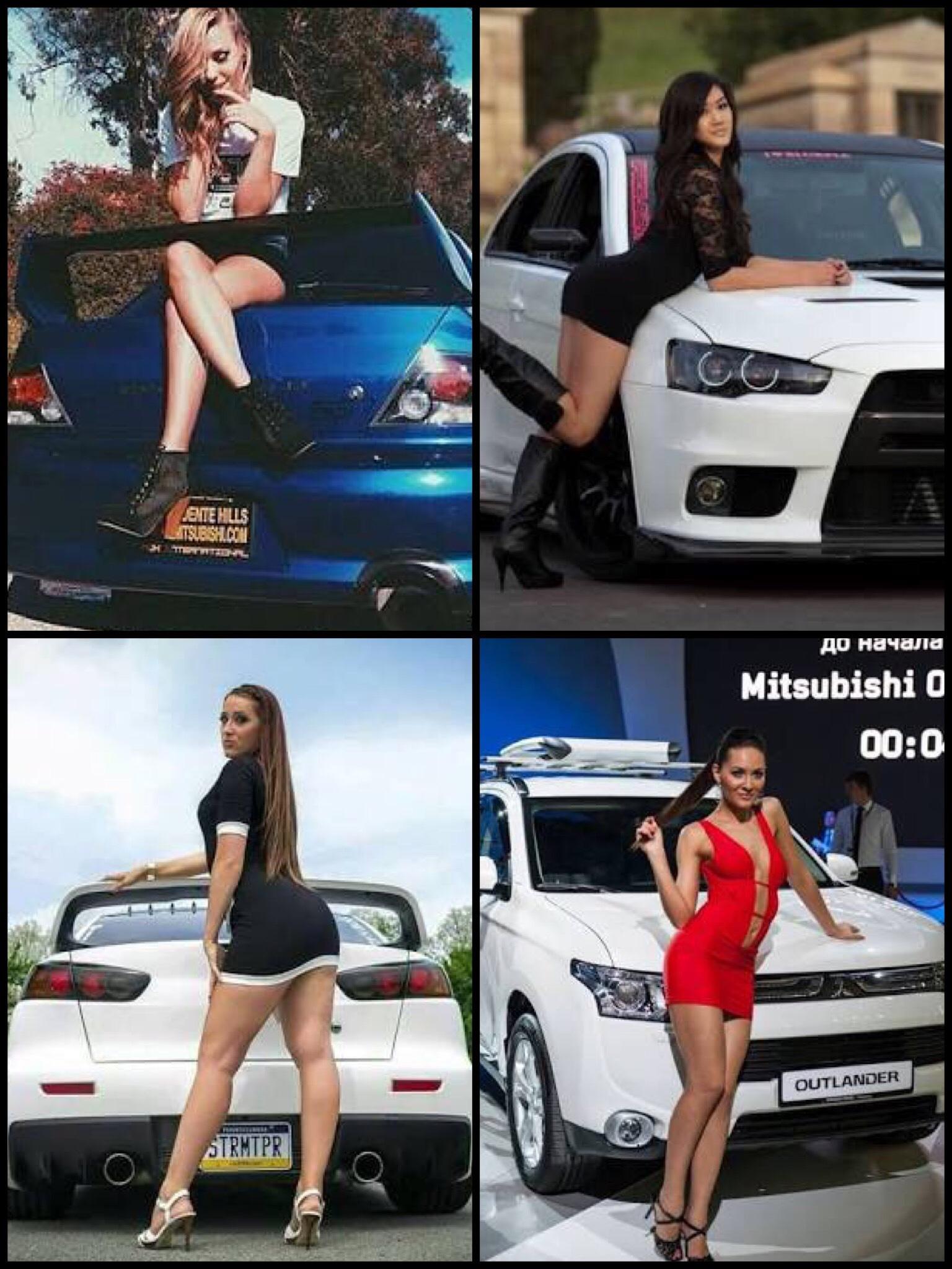 三菱車と美女 女性 Mitsubishi motors & beautiful woman