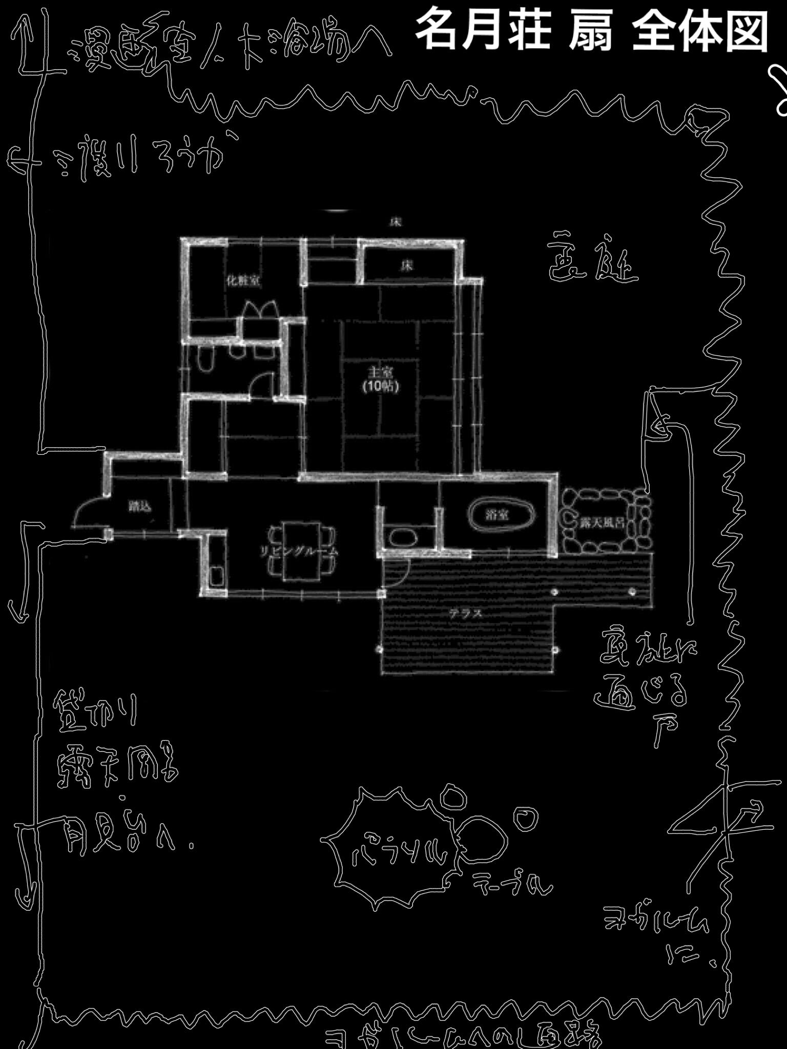 山形 上山温泉 名月荘 扇 宿泊記 部屋の全体図
