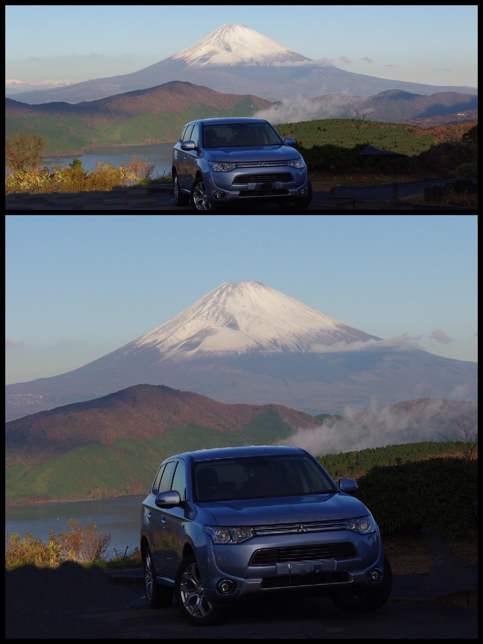 箱根ターンパイク 大観山スカイラウンジ 富士山と芦ノ湖 クルマの写真 アウトランダーPHEV