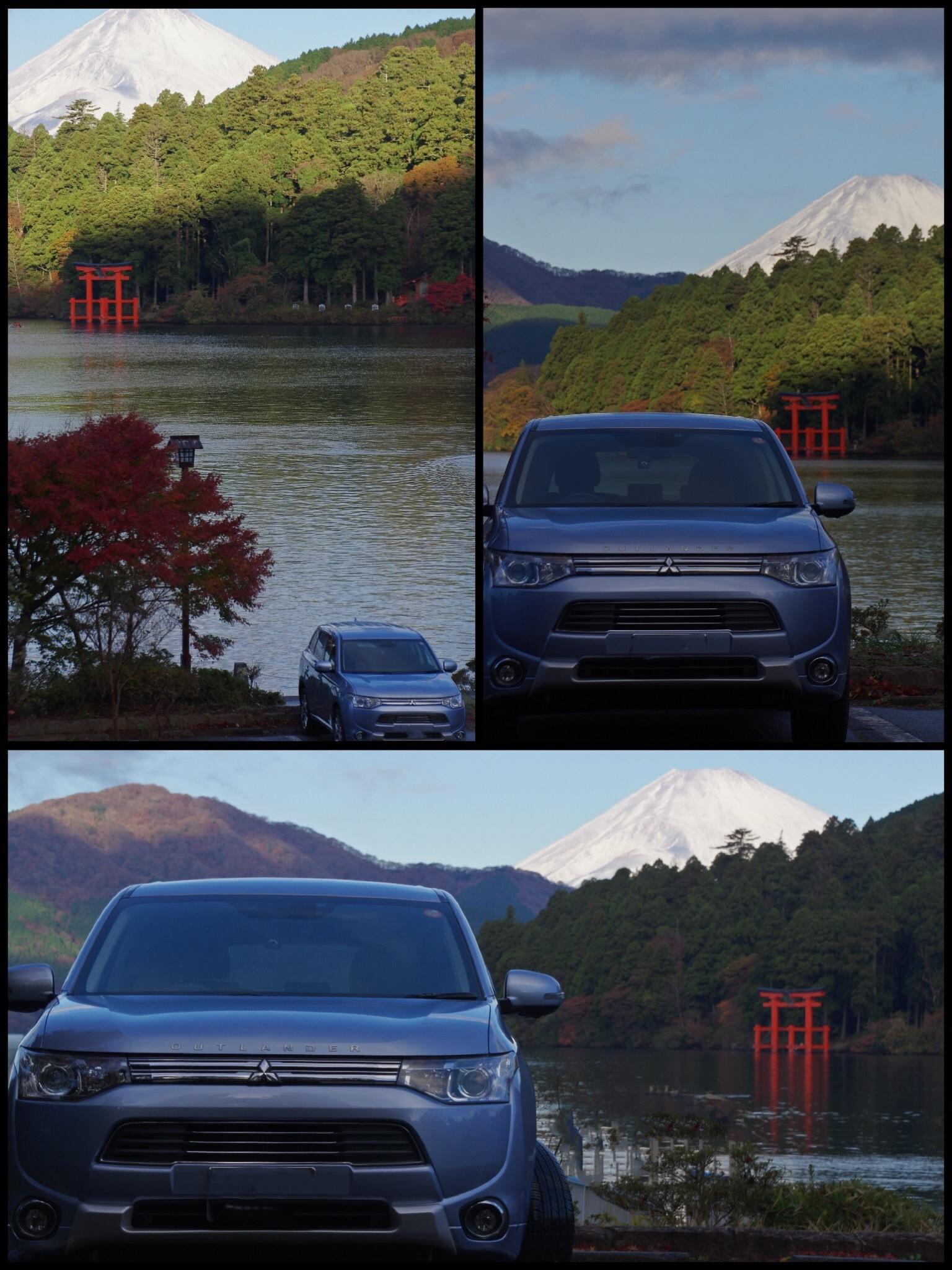 富士山と芦ノ湖 クルマの写真 元箱根 アウトランダーPHEV