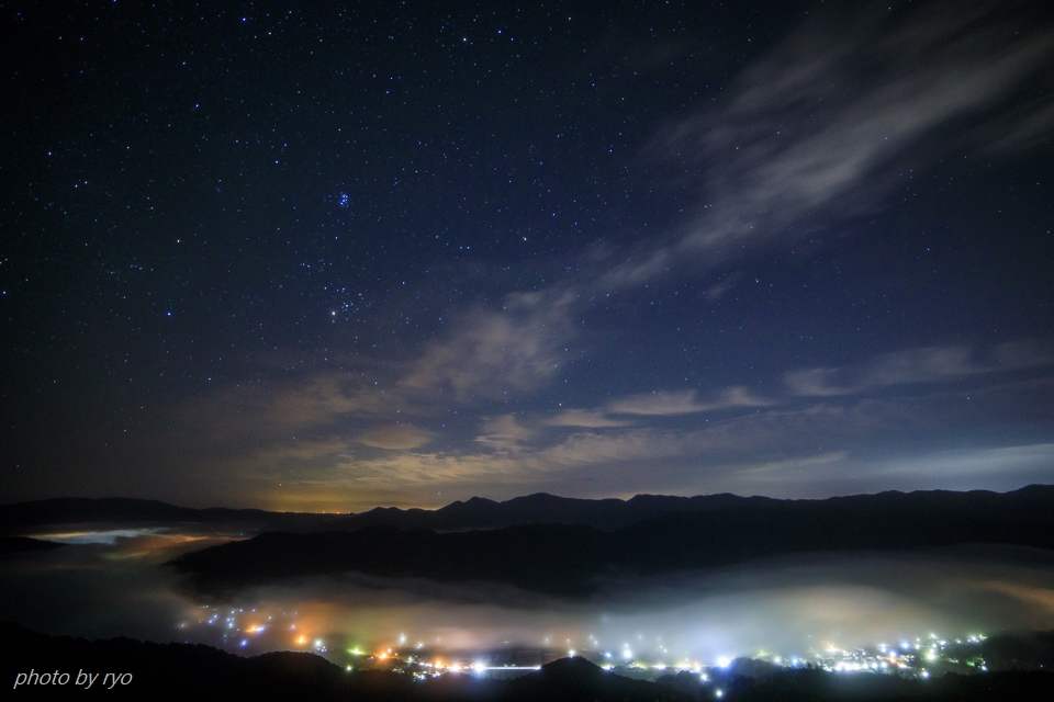 三日月と水星と火星と朝焼けの雲_1