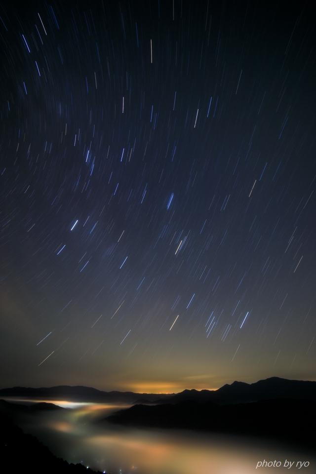 三日月と水星と火星と朝焼けの雲_2a