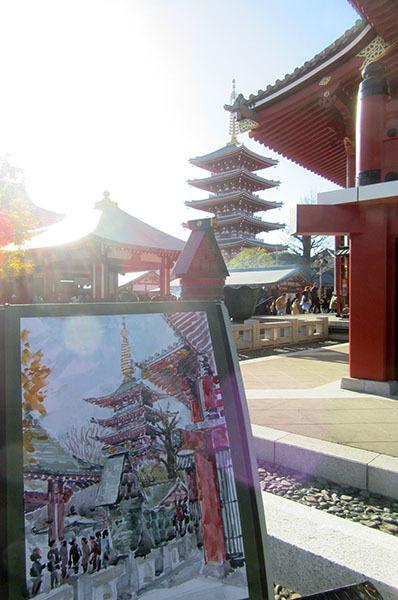 浅草寺でスケッチ171214