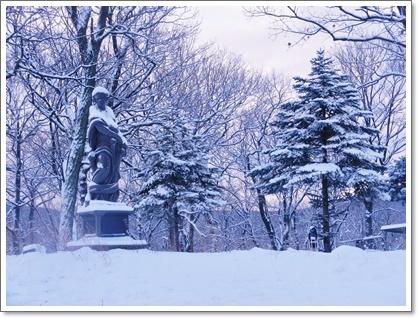 銅像にも雪が~~