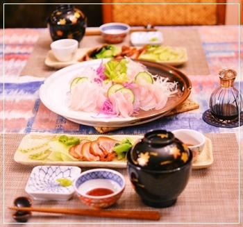 鮃の刺身で夕飯