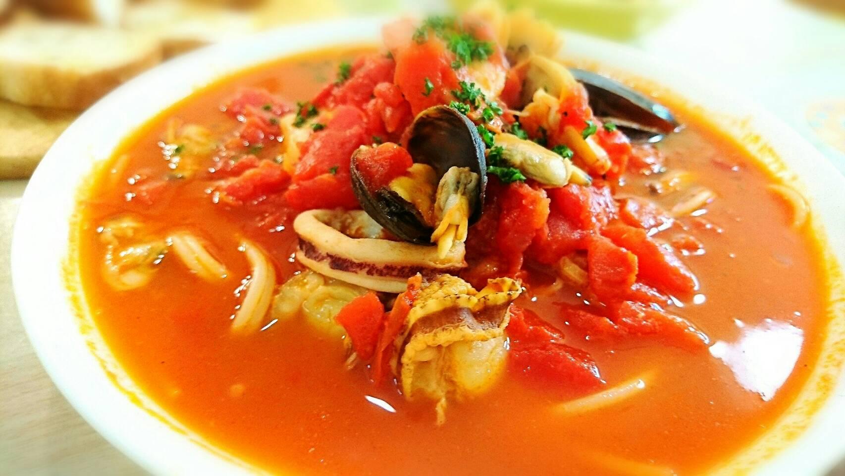 【パスタ】濃厚魚介のトマトスープスパゲティー