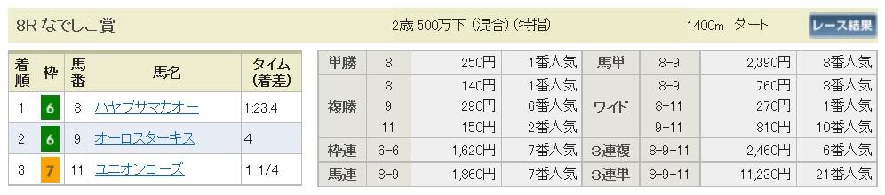 【払戻金】291022京都8R(三連複 万馬券 的中)