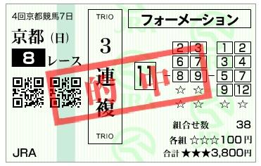 【的中馬券】291022京都8R(三連複 万馬券 的中)