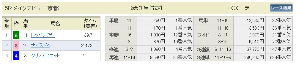 【払戻金】291029京都5R