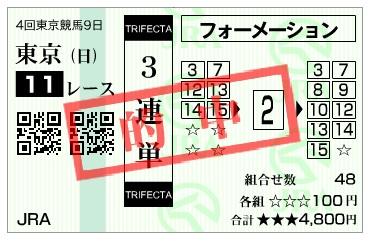 【的中馬券】291029天皇賞