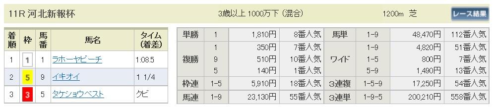 【払戻金】291103福島11R(三連複 的中)