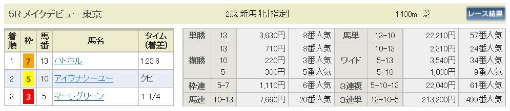 【払戻金】291105東京5R(三連複 的中)