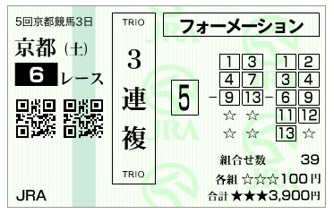 【馬券】291111京都6R(長生式馬券術)