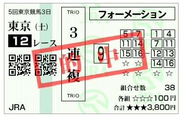 【馬券】291111東京12R(長生式馬券術)