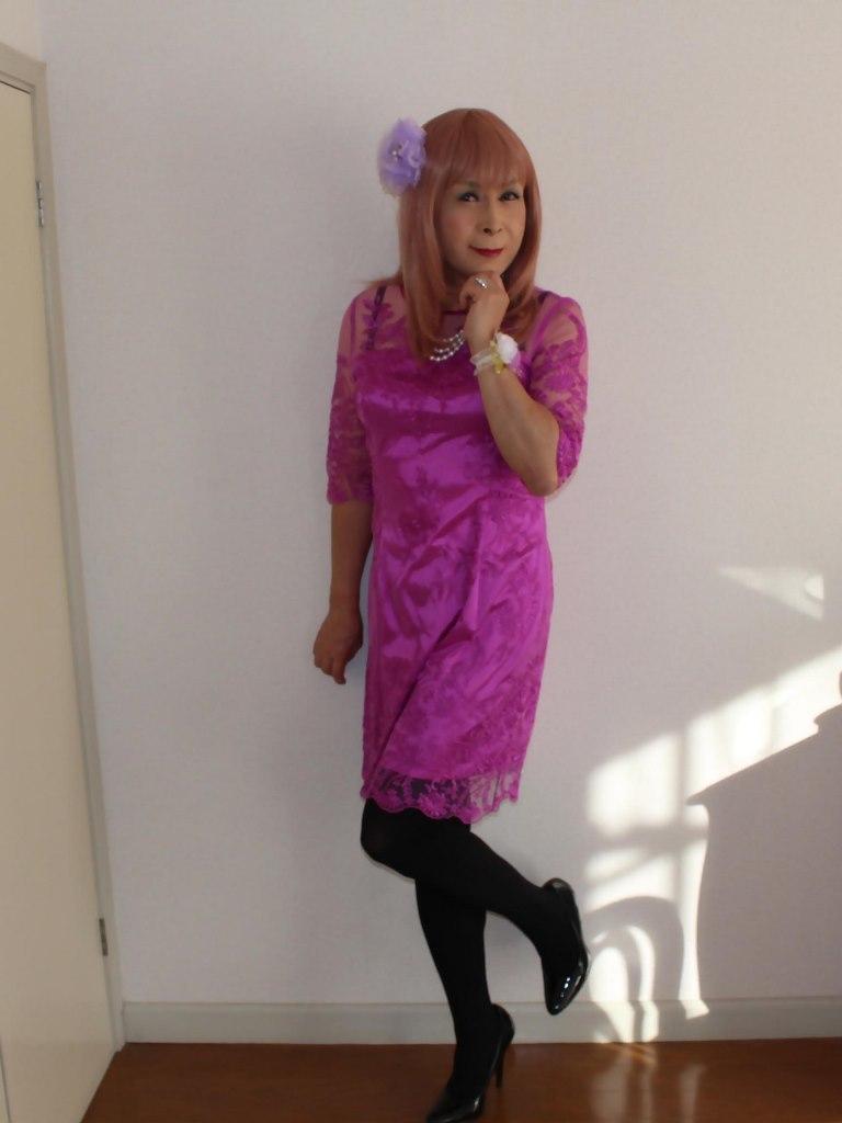 紫のレースワンピA(1)