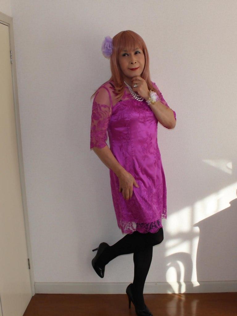 紫のレースワンピA(2)