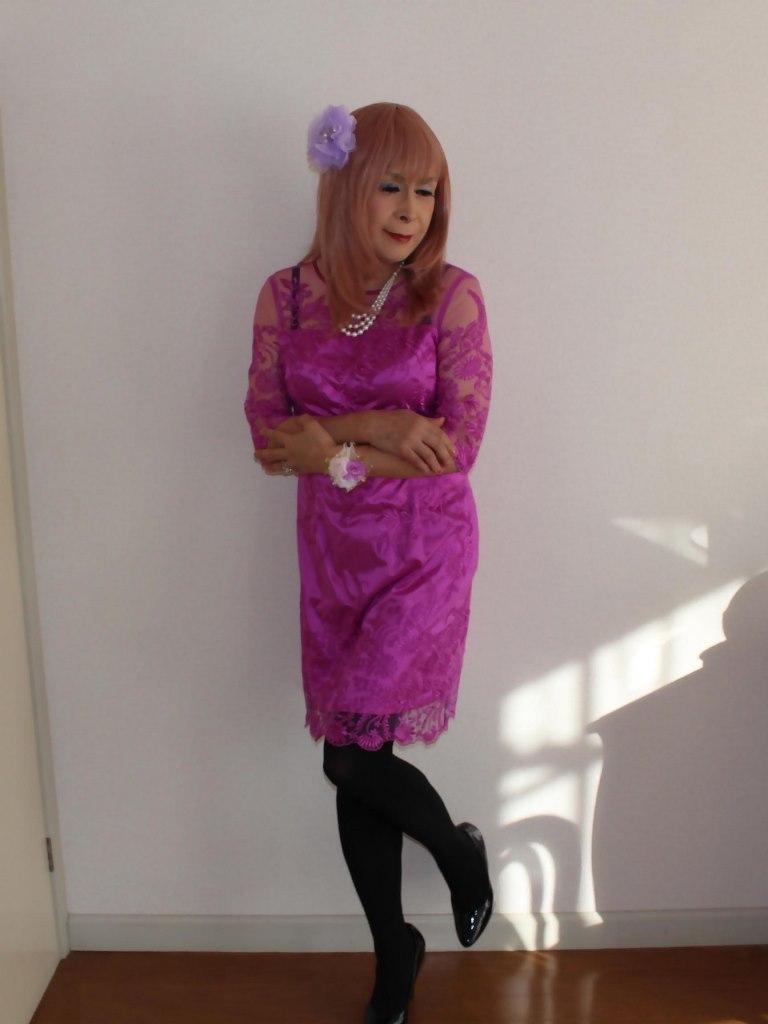 紫のレースワンピA(10)