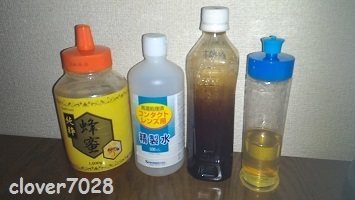 20171011_094916_蜂蜜木酢液化粧水の材料