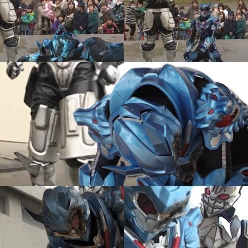 ヒーローのやられ、哮神ガイオンのマスク割れ、スーツ破壊