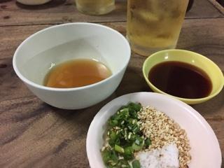 刺身用のごま油・醤油・塩・葱・ゴマ