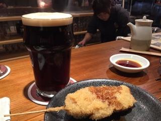 馬場オートミールスモークポーター ・ 牛串(ビール漬)