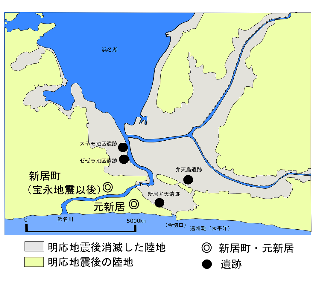 明応地震前の浜名湖図(lake_of_Hamanako_was_damaged_by_tsunami_in_Meiou_-_Toukai_earthquake_in_1498_)