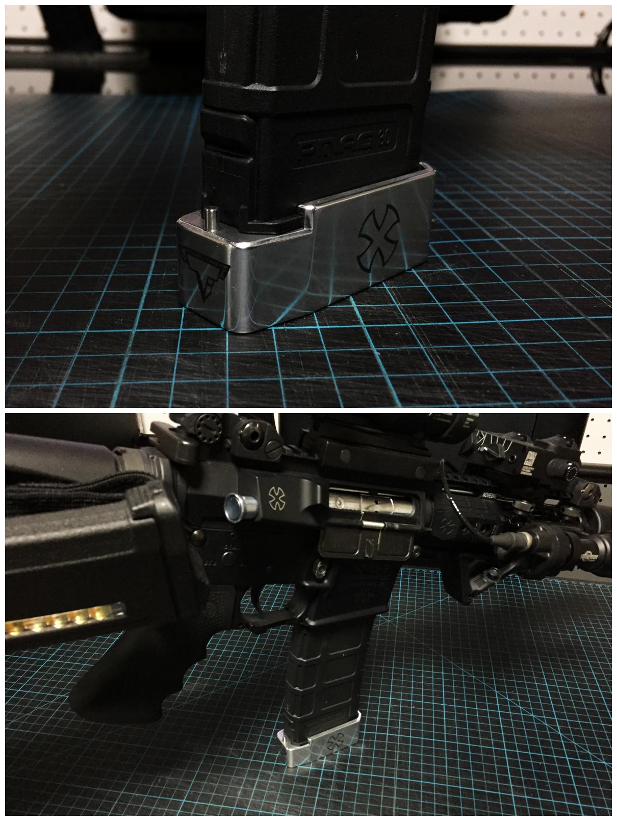 8 ブルーイング 刻印 TTI タイプ レプリカ NOVESKE 自作DIY 加工 UAC P-MAG アルミニウム マガジン ベース パッド