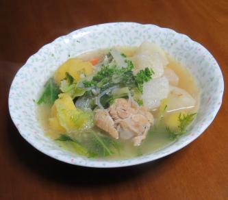 キョウナ入りスープ