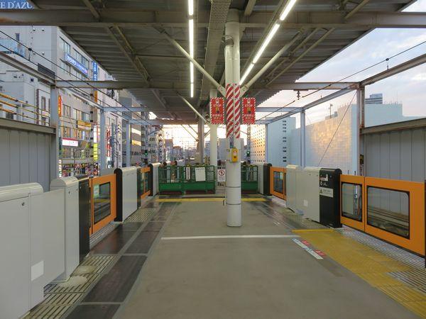 延伸工事が完了した大井町駅ホーム先端。