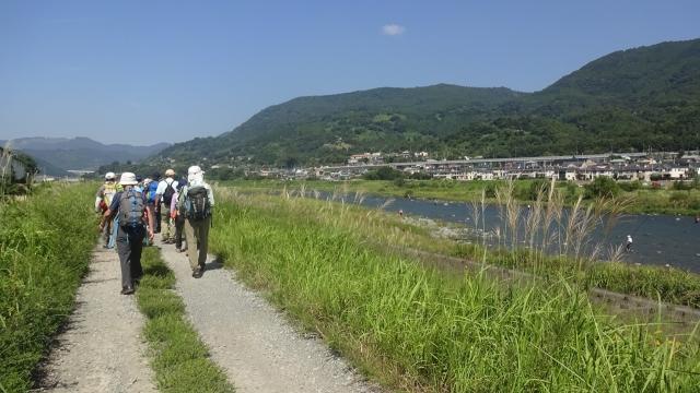 2酒匂川に沿って自転車道を歩く