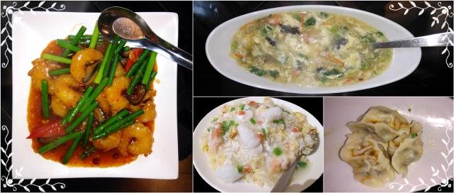 9エビチリ・ふかひれスープ・海鮮チャーハン・水餃子