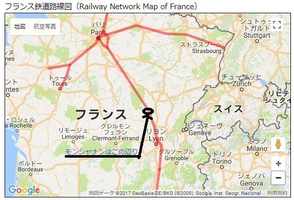 2017-11-25フランス鉄道地図パリリヨン間1