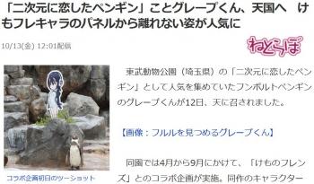 news「二次元に恋したペンギン」ことグレープくん、天国へ けもフレキャラのパネルから離れない姿が人気に