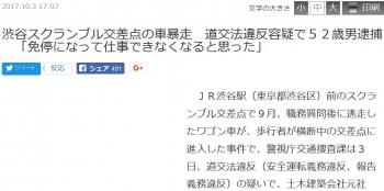 news渋谷スクランブル交差点の車暴走 道交法違反容疑で52歳男逮捕 「免停になって仕事できなくなると思った」