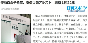 news惨敗百合子希望、安倍1強アシスト 東京1勝22敗