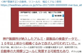 ten<神戸製鋼不正>自動車、リコールも 幅広くアルミ使用