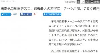 news米電気自動車テスラ、過去最大の赤字に 7~9月期、700億円
