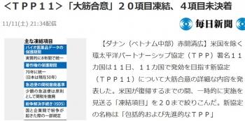 news<TPP11>「大筋合意」20項目凍結、4項目未決着