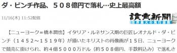 newsダ・ビンチ作品、508億円で落札…史上最高額