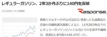 newsレギュラーガソリン、2年3か月ぶりに140円を突破