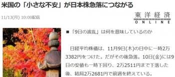 news米国の「小さな不安」が日本株急落につながる