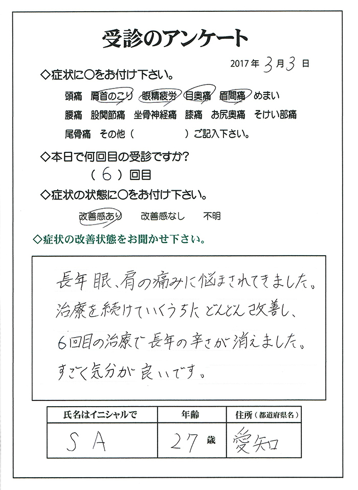 眼精疲労 改善の声 愛知県名古屋市