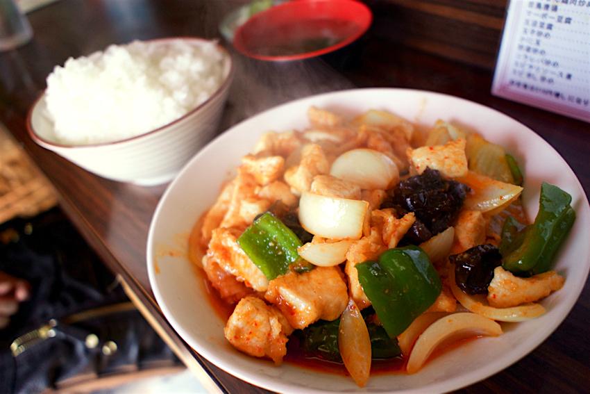 栄蘭飯店@鹿沼市緑町 2 鶏肉辛し炒め定食