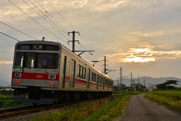 2017年8月28日 上田電鉄別所線 舞田~中野 1000系1001編成