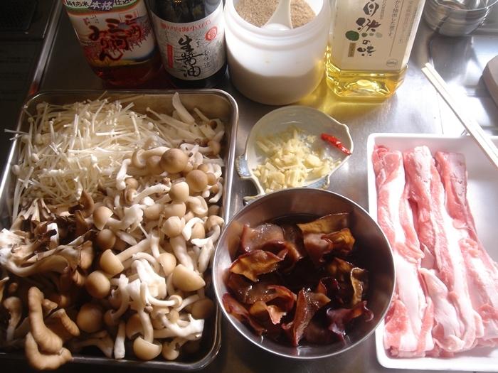 きのこと豚肉のうま煮丼
