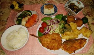 晩御飯 魚フライ・天婦羅