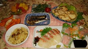 鯛刺身・サーモン生春巻き・穴子飯・蒸し鶏他